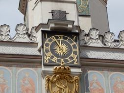 Poznan city old clock