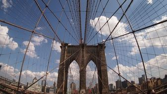 metal cables on the brooklyn bridge