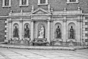Statues of the University of Valencia monochrome photo