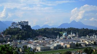 beautiful view of Old City with Castle at blue mountains, austria, Salzburg