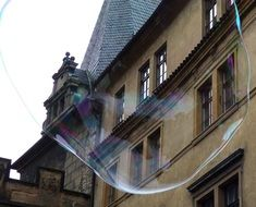 soap bubble on the background of the building