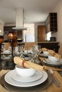 dining table setting in kitchen