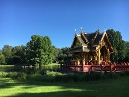 chinese house on a green meadow in hamburg