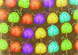 Background of the drawn color trees