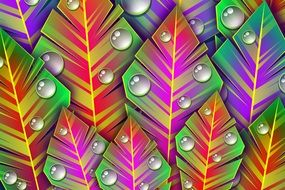 background with colorful leaves with dew drops