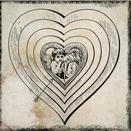 vintage heart with an angel