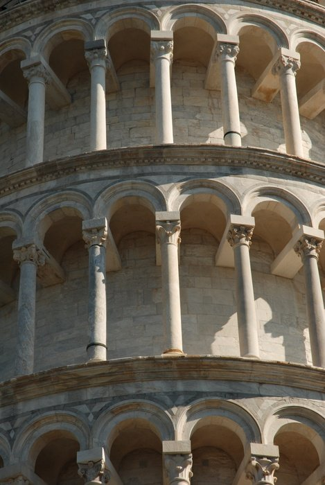 columns on the walls of the tower of Pisa