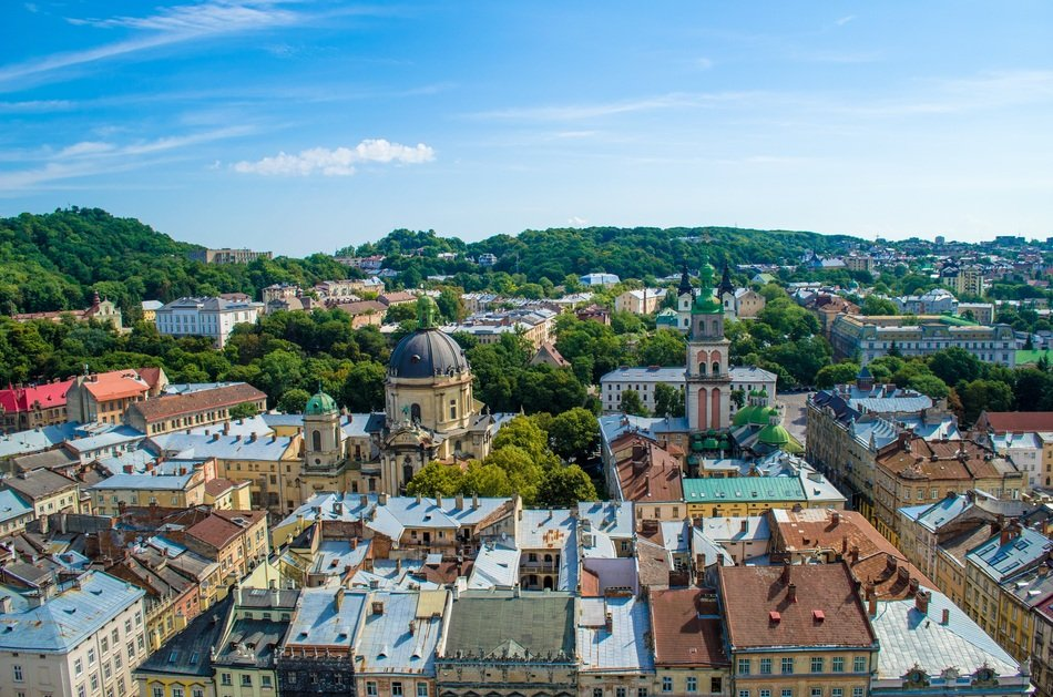 panoramic view of Lviv in Ukraine
