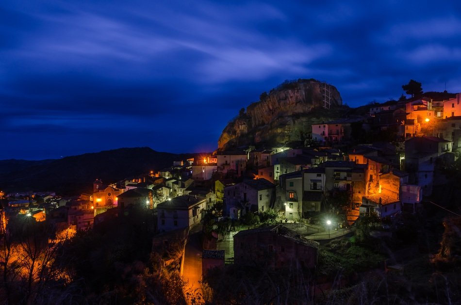 Night City on mountain side, italy, Calabria, Pietrapaola