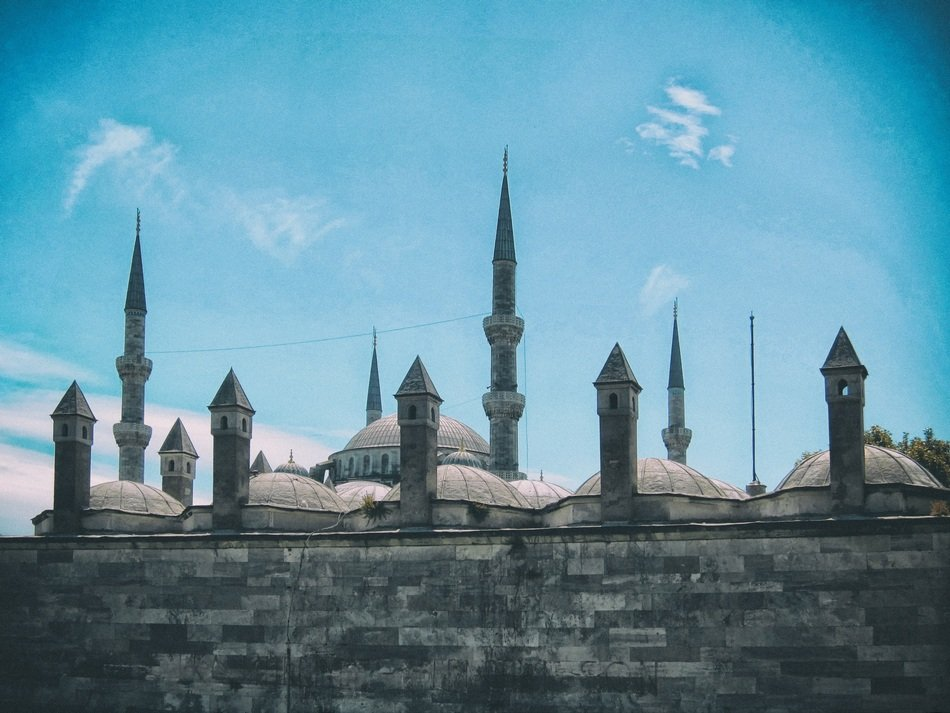 Blue Mosque with spiers on the roof