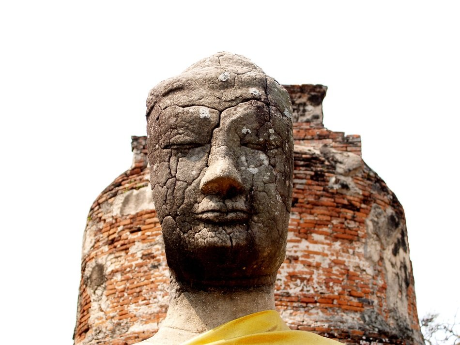 head of buddha statue close up