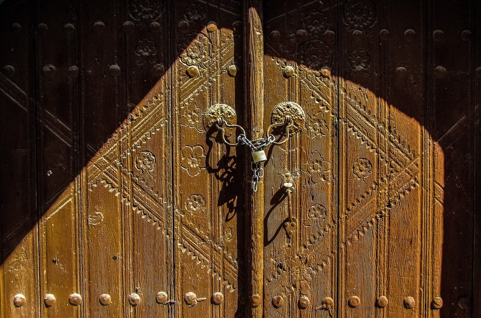 decoration on a wooden door