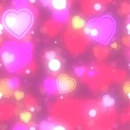 pink background with bokeh hearts