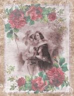 Vintage Woman Roses Romantic