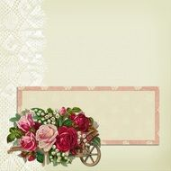 background with lave and roses bouquet