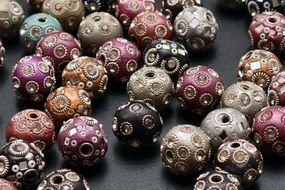 beads of different colors with patterns