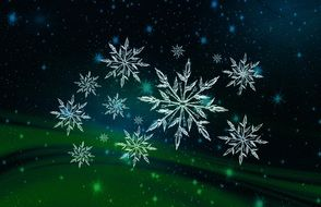 digital snowflakes on the green background