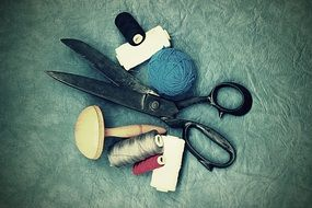 sewing accessories on the leather background