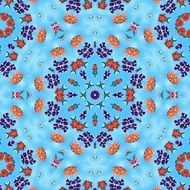 abstract kaleidoscope pattern on the blue background