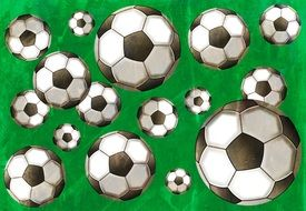 painted soccer balls on a green background
