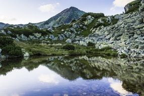 mirror image of rocky mountains in a lake