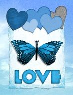 Blue card with the image of butterfly and hearts