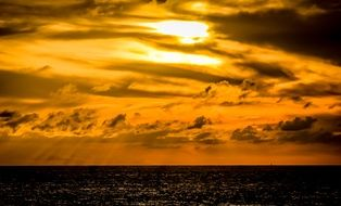 dramatic orange sea sunset