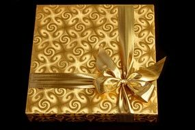 gift wrapped in a golden paper