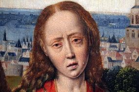 portrait of a crying woman of the fourteenth century on canvas
