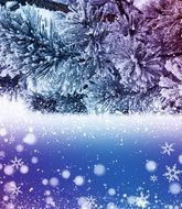 wallpaper with snowy Christmas tree