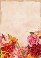 floral background with old paper texture
