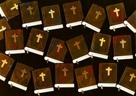 painted Bibles on a dark background