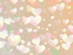hearts on a beige background