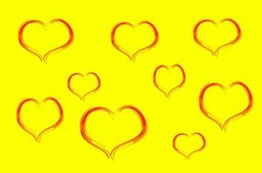 hearts on the yellow background