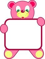 baby pink frame with bear