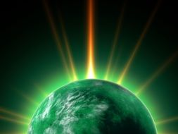wallpaper with green illuminated planet