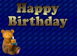 blue birthday card with teddy bear
