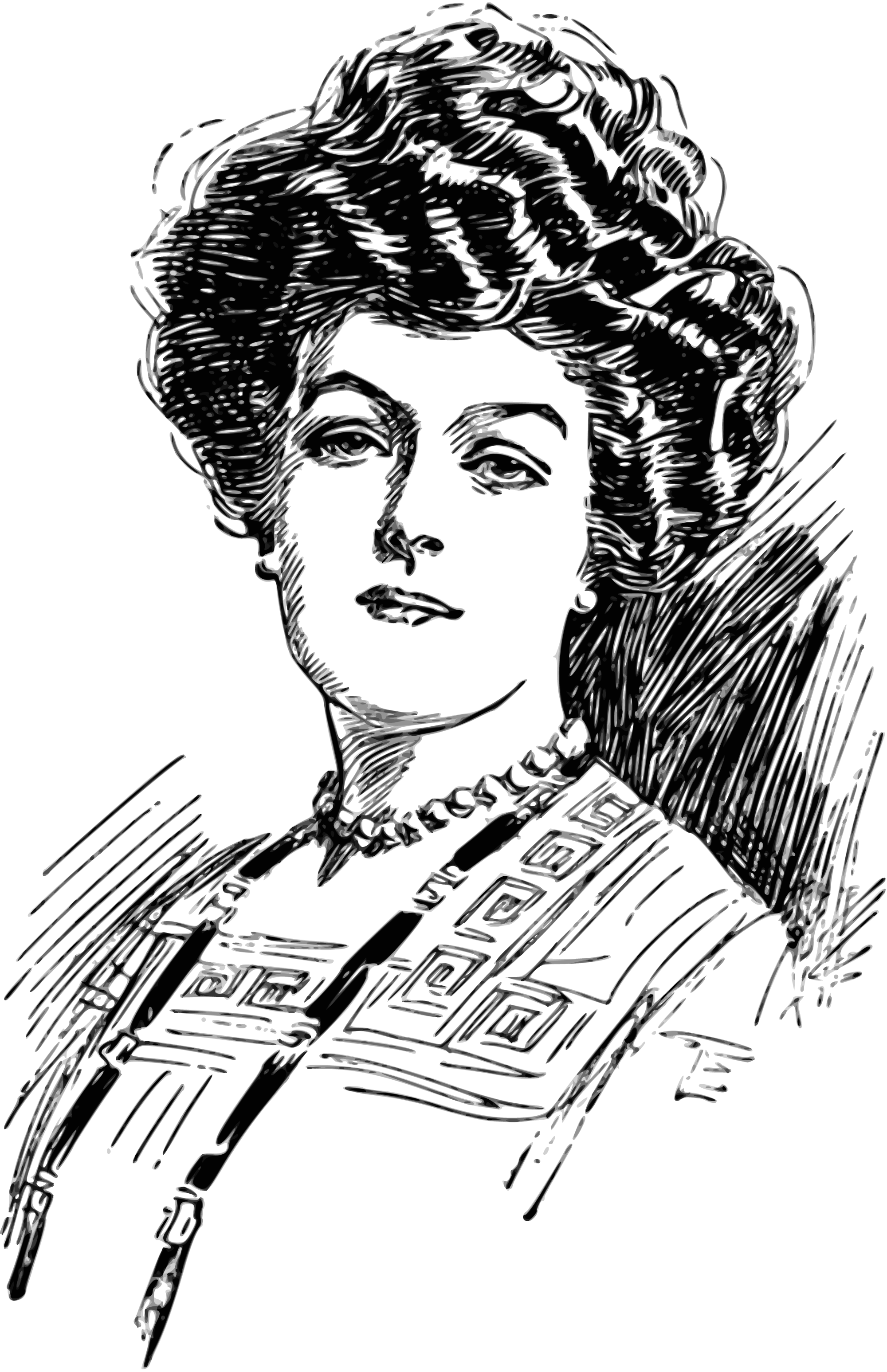 Lady Woman Vintage Drawing Free Image