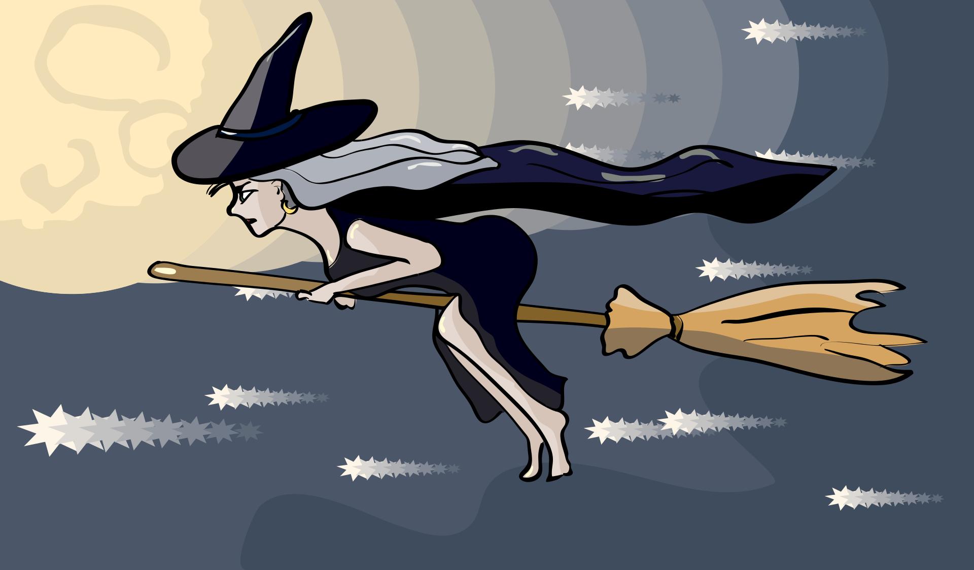 Картинка с ведьмой на метле с надписью, прикольные