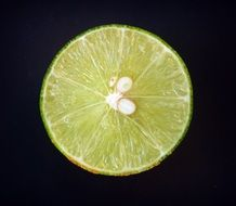 cross section of a lime on the black background