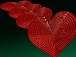 red hearts on green background