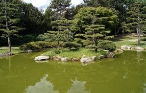 Japanese garden with lake