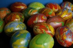 easter eggs in marbling color