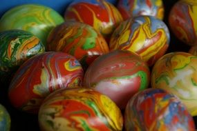painted Easter eggs in spring