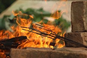 background with barbecue fire