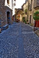cobblestone-covered old street