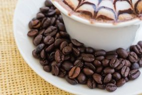 cappuccino with coffee beans on saucer