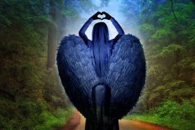 Angel in forest clipart