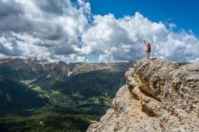 happy Person on Mountain Top in gorgeous landscape, Achievement concept