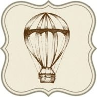 vintage template with hot air balloon